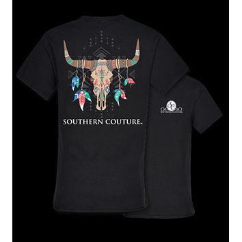 Southern Couture Tribal Aztec Skull Feathers Girlie Bright T Shirt