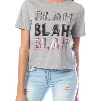 Blah Blah Blah Jersey Top - Heather Gray