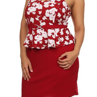 Jeweled Sleevless Sweetheart Neckline Dress - Red - Plus Size - 1x - 2x - 3x