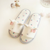 bunny fish mouth indoor home cotton slippers summer female rabbit ears waterproof non-slip slippers