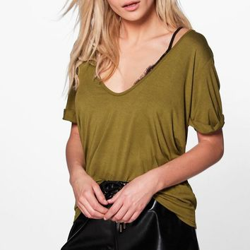 Steph Extreme Scoop Front Oversized Tee | Boohoo