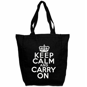 Keep Calm Carry On Tote Bag - Custom Carry All Tote