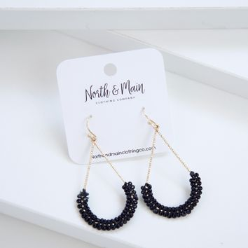 Rosa Beaded Drop Earrings, Black
