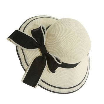 PEAP78W Hot Womens Straw Hat Floppy Wide Brim Bowknot Summer Beach Sun Lady Casual Cap