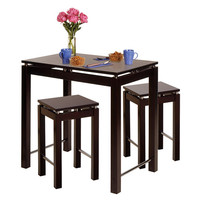 Linea 3 Piece Pub Kitchen Set, Island Table with 2 Stools