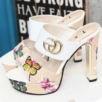 GUCCI summer new super high heel women's slippers platform with coarse sandals and slippers White F0215-1