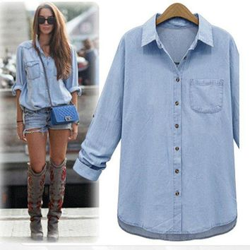 NOV9O2 Leisure loose lapel denim shirt