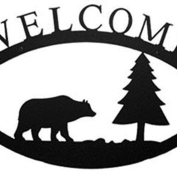 Wrought Iron Bear & Pine Welcome Home Sign Large