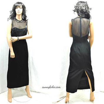 Beaded black evening dress / size S / 5 / 6 / vintage 80s long black formal dress / black sexy classy cocktail dress / long evening gown