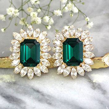 Emerald Earrings, Emerald Bridal Earrings, Emerald Green Statement Earrings, Dark Green Earrings, MOH Earrings, Swarovski Emerlad Earrings