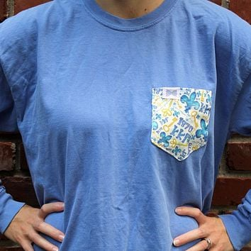Kappa Kappa Gamma Long Sleeve Tee Shirt in Fluorescent Blue with Pattern Pocket by the Frat Collection