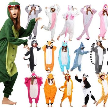 Wotogold Animal Unicorn Bear Koala Narwhal Monkey Onesuit Adult Kids Unisex Cosplay Costume Hooded Pajamas Sleepwear Men Women