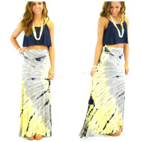 Day Tripping Gray & Yellow Tie Dye Maxi Skirt