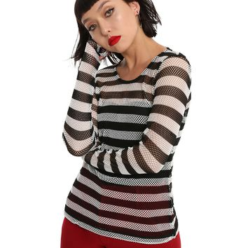 Tripp Black & White Stripe Fishnet Girls Top