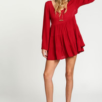 Crepe Tiered Bell Sleeves Dress