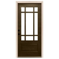 Steves & Sons, Craftsman 9 Lite Stained Mahogany Wood Right-Hand Entry Door with 4 in. Wall and White Frame, M3109-6-HY-WJ-4RH at The Home Depot - Tablet