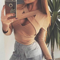 2016 Autumn New Fashion Cross Bandage Crop Top Sexy Long Sleeve Women Shirt Short Ladies Tops Slim Solid Shirt M0591