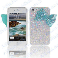 New Shining Cute Girly Green Crystal Bow Case Cover for iPhone 4 4S 4G 1674