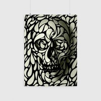 Skull Poster, Cool Sugar Skull Home Decor, Black And White Skull Print Wall Art