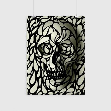 Skull Poster Cool Sugar Home Decor Black And White Print Wall Art