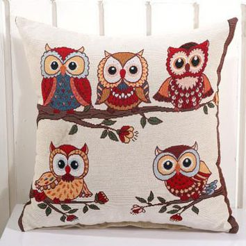 Cartoon Handmade Owl Home Decor Pillow Decorative Throw Pillows Cute Drawing 19