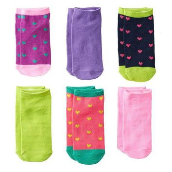 MDIGPL3 Pink Cookie 6-pk. Sparkly Heart No-Show Socks - Girls Size