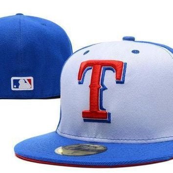 Texas Rangers New Era 59fifty Mlb Hat Blue White