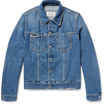 Maison Margiela - Corduroy-Trimmed Distressed Denim Jacket