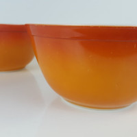 Vintage Pyrex 402 Flameglo Flame Glow Nesting Bowl, Orange Pyrex Mixing Bowl, Ombre Pyrex Red Pyrex, Small Mixing Bowl, Vintage Kitchen Bowl