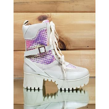 Quinn Cream Pink Hologram Fashion Lug Sole Combat Boot US Sizes 5.5 -10