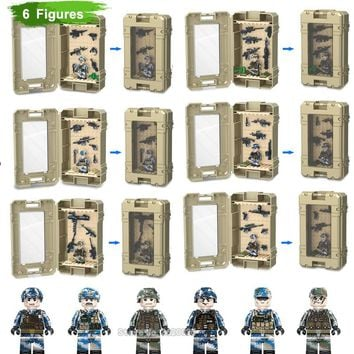 ww2 army Armory Storage Building Blocks box Special forces Mini figures Compatible legoinglys Military toys for children gift