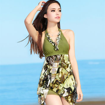 New Sexy Padded Halter Skirt Swimwear Women One-Piece Swimsuit Beachwear Swim dress Plus Size Swimwears 3311