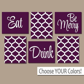 EAT DRINK be Merry Wall Art, CANVAS or Prints, Purple Kitchen Decor, Dining Room Wall Decor, Trellis Pattern, Home Decor Set of 6 Wall Decor