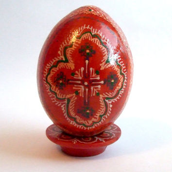 Hand painted big decorative egg / pysanka / Vintage Folk Art Polish Solid Wood / Floral Flowers Cross Ornament / Easter Egg / Pysanky