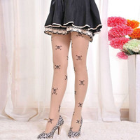 Skull and Cross Bones on a Pair of Goth /  Cosplay Women's Panty Hose - One Size