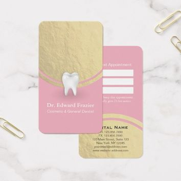 Cosmetic & General Dentist Appointment Pink & Gold Business Card
