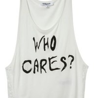 New Look Mobile | Teens White 'Who Cares' Vest