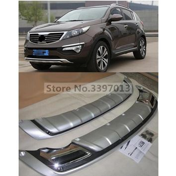 Car styling Free shipping 2 pcs Front ABS Chrome Rear Bumper Guard Protector Skid Plate for Kia Sportage R 2010 - 2012 2013 2014