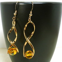 Contemporary Gold Twist Swarovski Sunflower Crystal Dangle Earrings