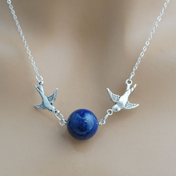 Sterling Silver Lapis Lazuli Necklace, Bird Necklace Couple Happy Birds Necklace, Bridesmaid's Necklace