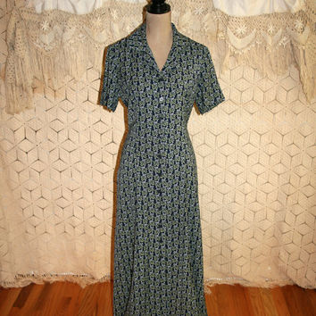 90s Grunge Dress Blue Print Dress Short Sleeve Dress Spring Dress Long Button Up Dress Leslie Fay Size 12 Size 14 Large Womens Clothing