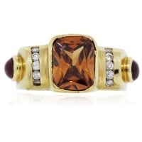 18k Yellow Gold Citrine, Ruby, and Diamond Ring