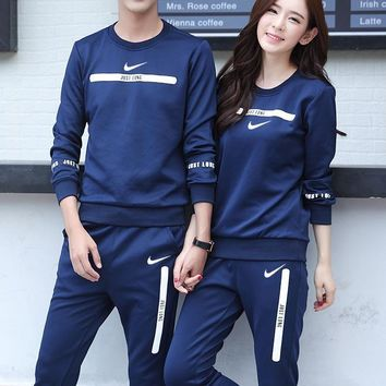 Nike Women Men Fashion Casual Top Sweater Pants Trousers Set Two-Piece-3