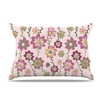 "Nika Martinez ""Romantic Flowers in Pink"" Blush Floral Pillow Case"