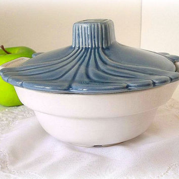 Vintage California USA Pottery covered bowl, dish shabby cottage chic bowl with lid french blue and white, casserole dish, with handles