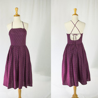 Vintage 1970's Pin-up Sun Dress Purple Calico Print Spaghetti Strap Back
