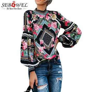 SEBOWEL Black Bohemian Floral Women Blouse Chic Long Sleeve Womens Tops and Blouses Blouse Leopard Turtleneck Female Shirts Tops