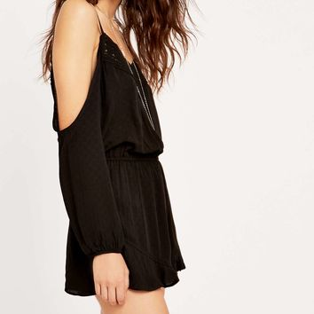 Ecote Off-the-Shoulder Black Crochet Playsuit - Urban Outfitters