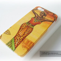 iPhone 5 Case - Charming African Woman, Handmade-decoupage hard case /Back protective case for iPhone 5, iPhone 4/4S, Samsung Galaxy S3/S2
