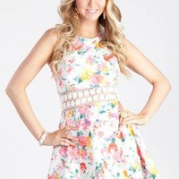 Floral Crochet Insert Dress